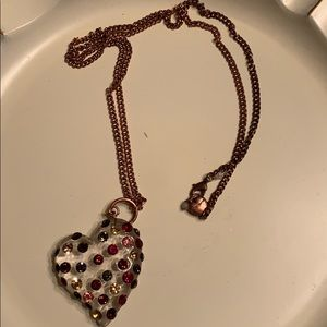 Betsey Johnson Long Large Heart Necklace EUC